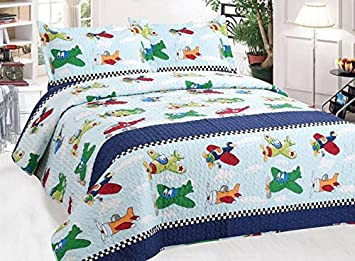 Amazon.com: Auvoau Kids Quilt, White Blue Trains Kids Boys Quilt ... : boys quilt - Adamdwight.com