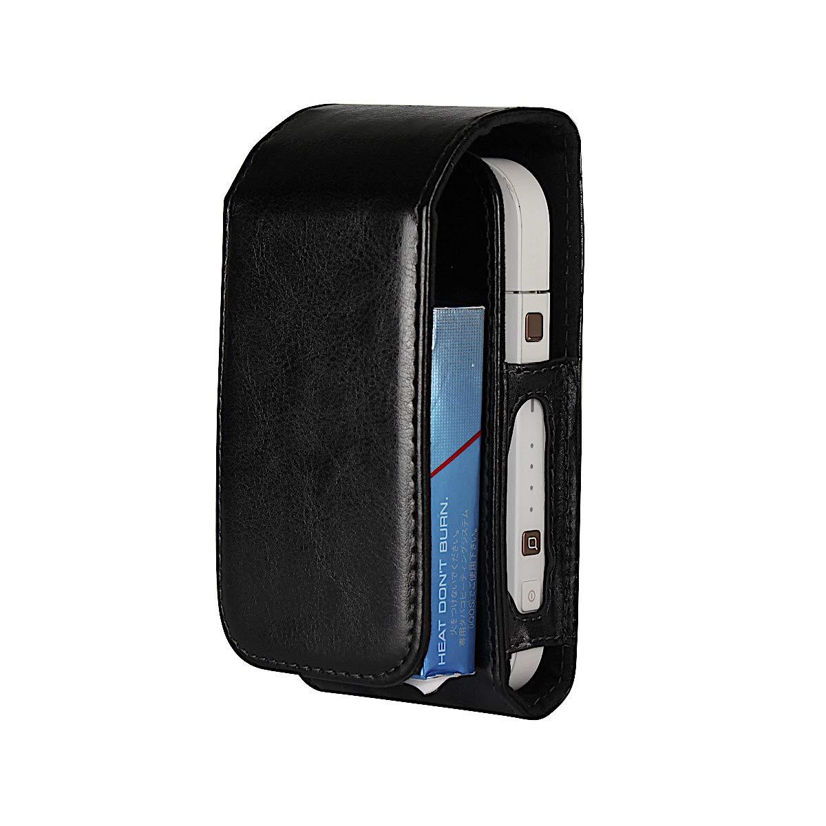 Hülle für IQOS Pocket Charger - Kunstleder Case 3in1 Schutzhülle für IQOS Starter-Kit - Cover Behälter in Schwarz (Braun)