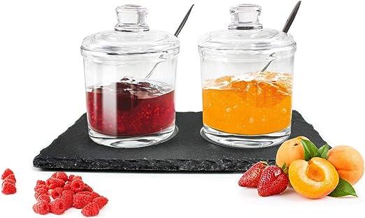 2 Gewürzdosen auf Schieferplatte mit Löffel Parmesandosen Marmeladendosen Set Honigdose Dose Zuckerdose Salzdose Vorratsdose