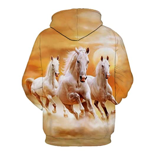 Amazon.com: Wan Ma Pentium Yellow Hoodie able Horse Sweatshirts: Clothing