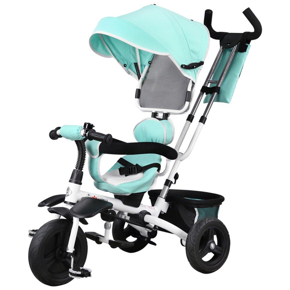 HAIZHEN マウンテンバイク 赤ちゃん三輪車多目的車両折りたたみ式360度回転シート 新生児 B07CG7QXW1青
