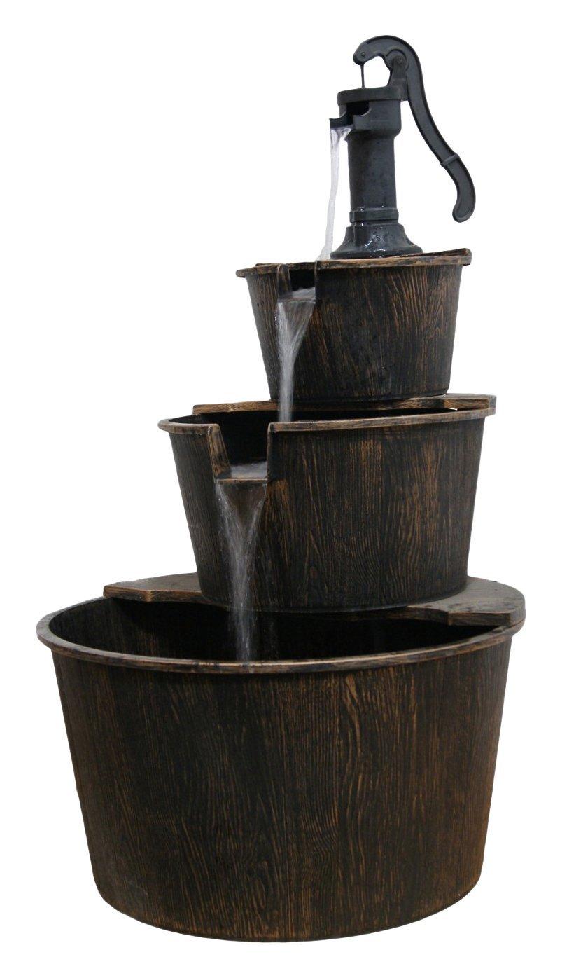 Alpine TEC234BR Three Tier Pump & Barrels Fountain, Brown Finish, 40'' Tall, 41'', Beige