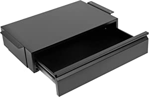 Mount-It! Under Desk Pull-Out Drawer Kit with Smooth Sliding Track | Office Storage Organizer | Mounts to Desktops Tables and Workbenches Over 0.71 Inches Thick | Matte Black