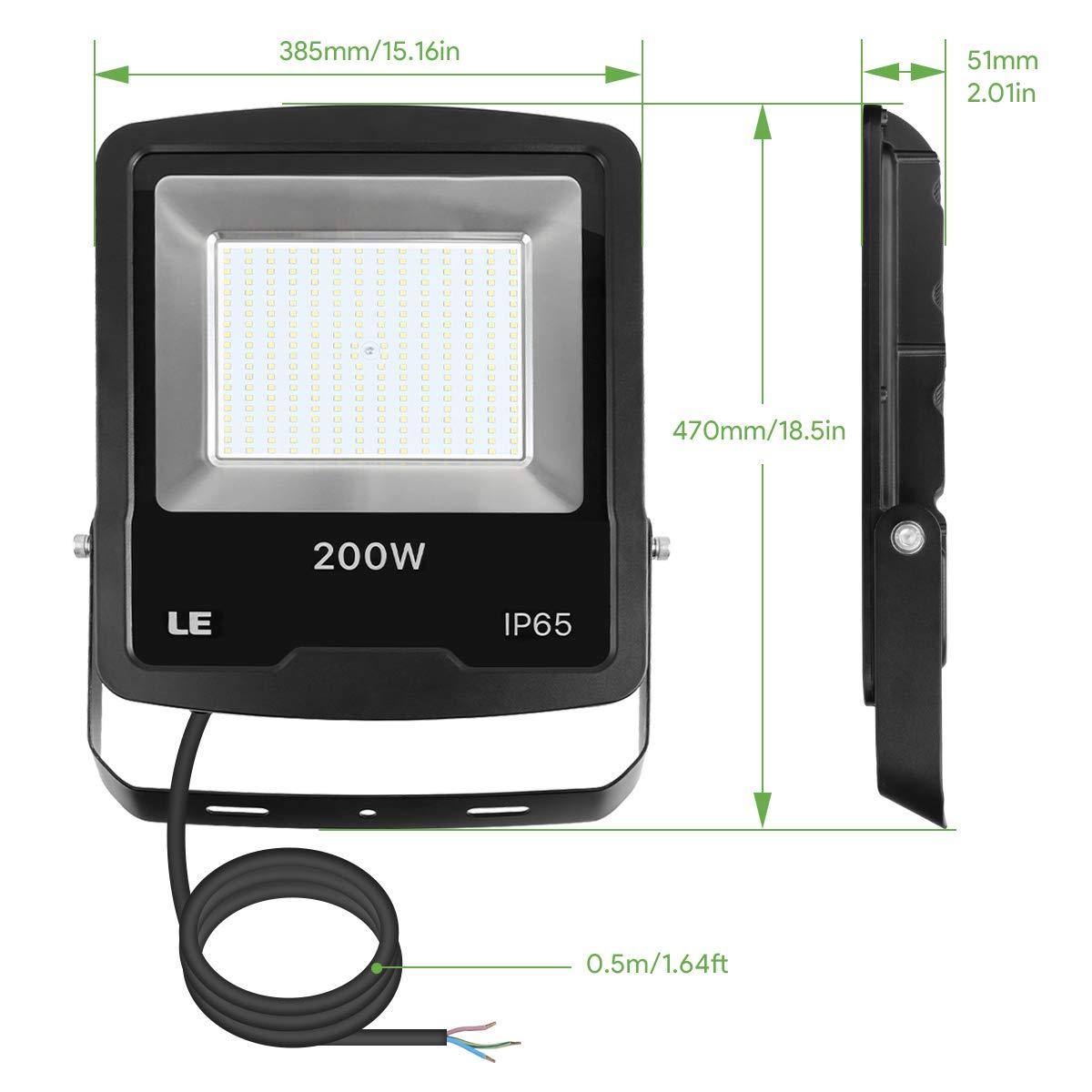 etc 16000 l/úmenes Resistente al agua IP65 para Almacenes Estadios LE Foco LED Proyector Pack de 2 Jardines Luces Exteriores 200W Equivalente 600W SAP Blanco fr/ío 6500K
