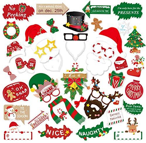 Konsait Christmas Photo Booth Props Kit(42Pcs), DIY Christmas Photo Booth with Stick Funny Xmas Selfie Props Backdrop Decorations for Adults Kids Christmas Party Favors Decorations Decor Supplies (Xmas Funny Photos)