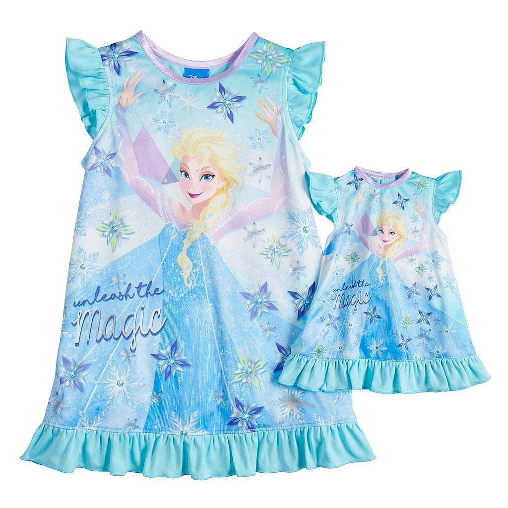 Size 3T Blue Frozen Elsa Unleash The Magic Silky Nightgown with Doll Gown