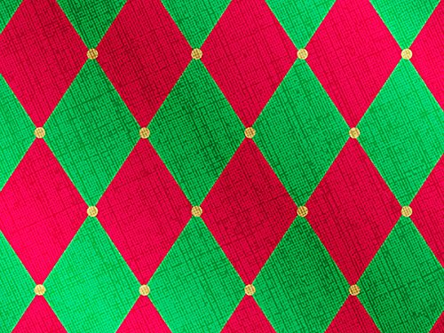 Pack of 1, Red & Green Harlequin 30'' x 833' Full Ream Gift Wrap (Foil) for Holiday, Party, Kids' Birthday, Wedding & Special Occasion Packaging by Generic