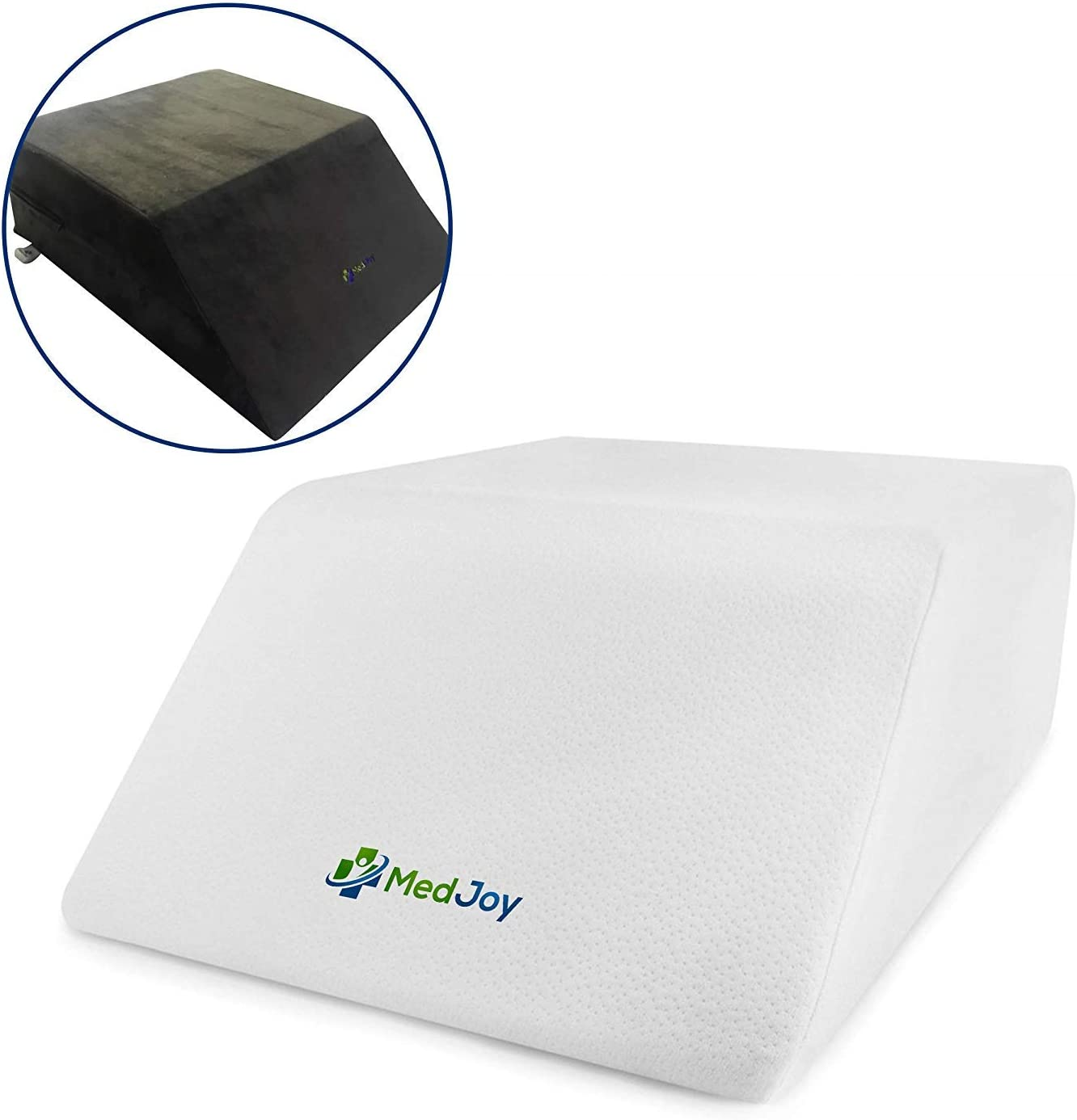 Med Joy-Leg Elevation Pillow with 2 Covers (1-White, 1-Grey). Leg Rest-Bed Wedge Pillow to Improve Circulation-Reduce Swelling-Back Pain-Sciatica. Leg Support with Layered Memory Foam-24 x 20 x 8 inch