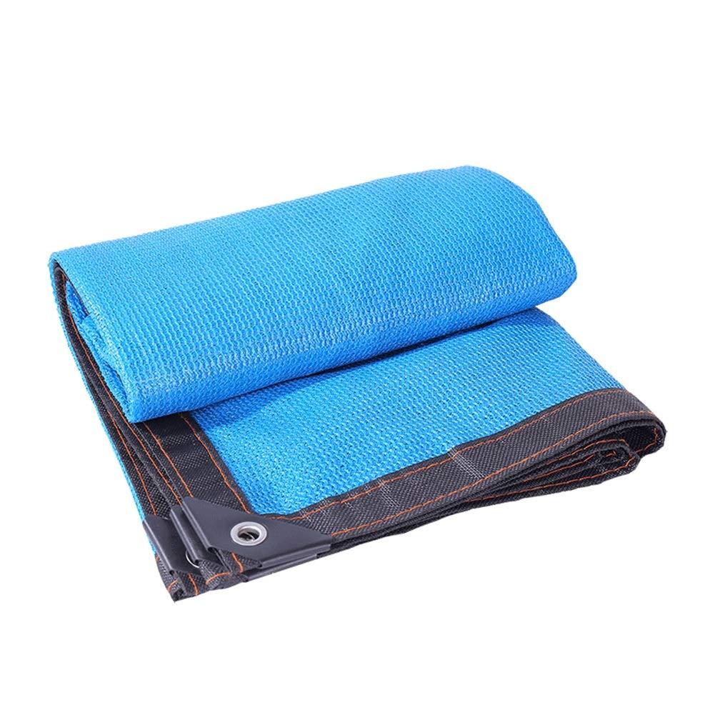 LIANGLIANG-fang shai wang Rete Parasole Serre Antivento Pieghevole Balcone Piantare Fiori Resistente all'Usura Polietilene con Fori di Metallo, 23 Taglie (colore   Blu, Dimensioni   6x6m)