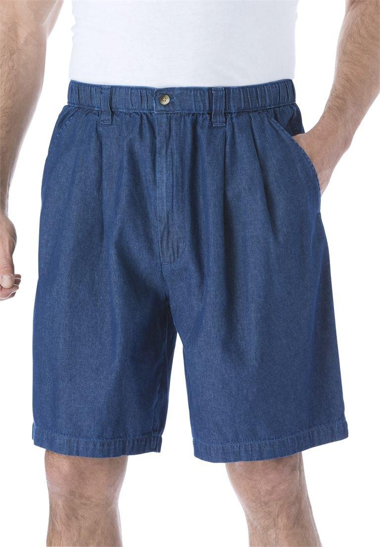 KingSize Men's Big & Tall Knockarounds 8'' Pleat Front Shorts, Stonewash Tall-XL