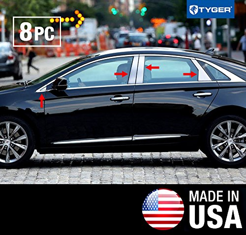 Made In USA! Works With 2013-2018 Cadillac XTS 8PC Stainless Steel Chrome Pillar Post Trim