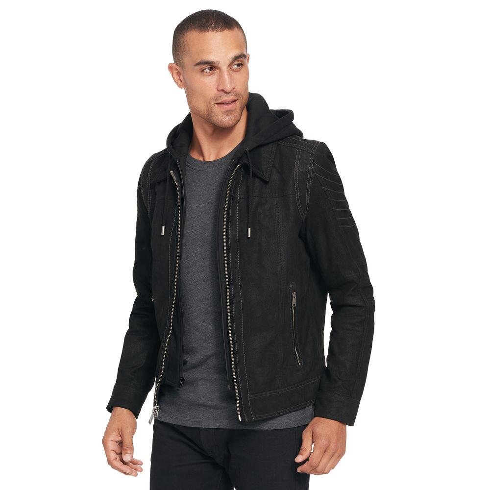 Wilsons Leather Mens Vintage Hooded Genuine Leather Jacket L Black by Wilsons Leather