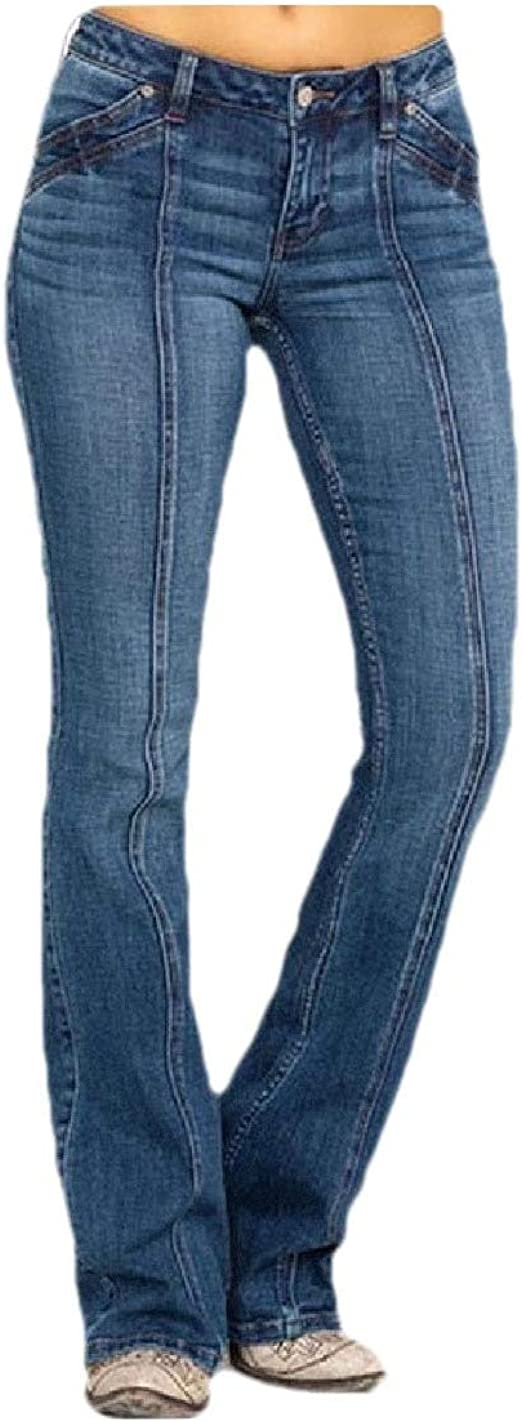 Romancly Women Middle Waist Fitted Washed Bell Bottom Lounge Jeans with Pockets