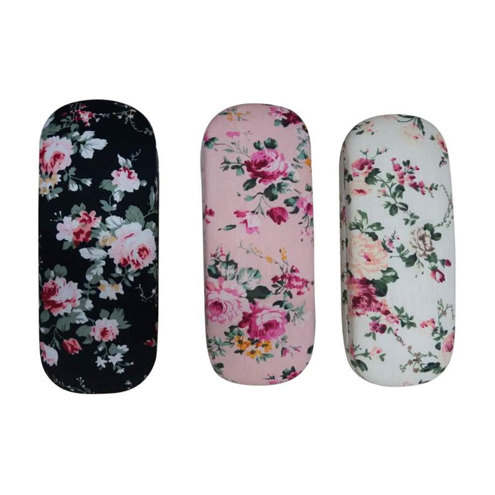 Bvengu Glasses Case Box Holder with Floral Pattern Cover 16.5 6.5 3.5CM Random Color