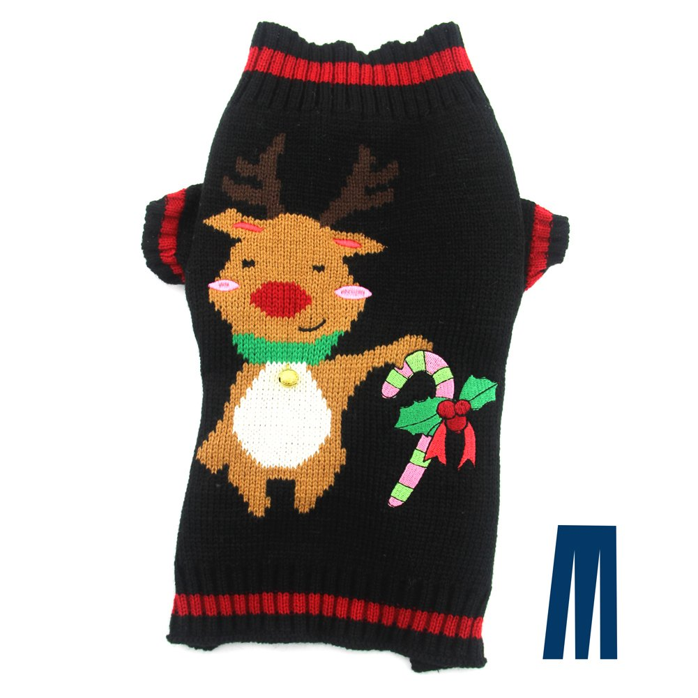 Mikayoo pet Sweater Small Dog/cat,Ugly Sweater,Color Horizontal Stripes,Christmas Holiday Xmas, Elk Series, Reindeer Series with Lights and Snowball(L) ym