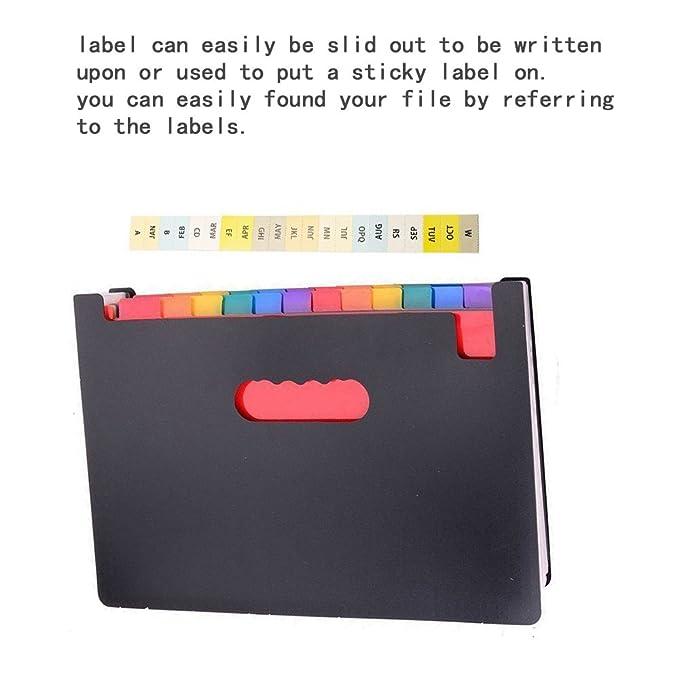 Buoyancy Portátil Multicolor soporte extensible de alta capacidad 24 bolsillos acordeón expansión carpeta de archivo A4 documento cartera maletín negocios ...