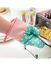 Iuhan Kitchen Cooking Cotton Microwave Oven Gloves Mitts Pot Pad Heat Proof Protected (Blue)