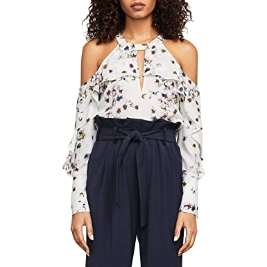 BCBGeneration Womens Floral Printed Ruffle Blouse