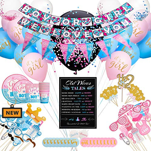 Flaminca Premium Gender Reveal Party Supplies (176 Pieces) Baby Gender Reveal Decorations Kit and Ideas, Banner, Plates, Cups, Napkins, Balloons, Confetti, Photo Booth Props, Cupcake Toppers, Gender Reveal Games, Stickers (Best Gender Reveal Party Ideas)