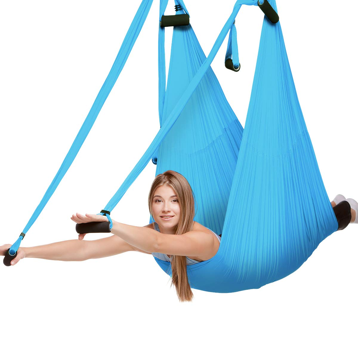 LOFTER Yoga Trapeze, Sturdy Nylon Aerial Yoga Swing Wide Yoga Hammock Kit for Antigravity Yoga, Stretching, Inversion, Indoor/Outdoor Exercises Aerial Trapeze, Helped with Flexibility, Back/Neck Pain