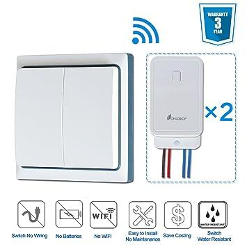 smart wireless lights switch 2 gang 1 way no battery no wiring rh amazon com light switch timer no wiring light switch without wiring