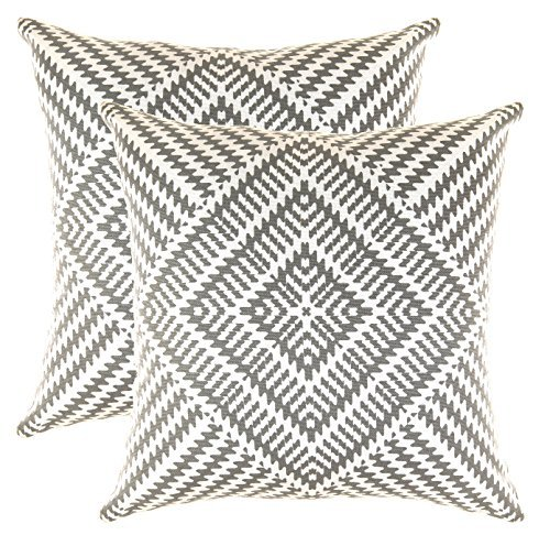 TreeWool Decorative Square Throw Pillow Covers Set Kaleidoscope Accent 100% Cotton Cushion Cases Pillowcases (24 x 24 Inches / 60 x 60 cm; Graphite Grey & White) - Pack of 2