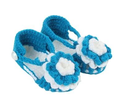 91f12f0439d45 Bigood Chaussure Bébé Unisexe Tricot Sandales Souple Fleur Eté Lac Bleu   Amazon.fr  Chaussures et Sacs