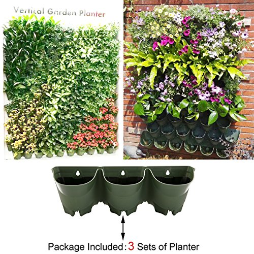 Self Watering Wall Mounted Vertical Planter,DIY Living Wall Flowerpot,Hanging Plants Holder,Indoor & Outdoor Decoration Planting Pot,One Set w/ 3-pockets and 3pc Filter Layer (3 sets per pack) by SHANGHAI WORTH