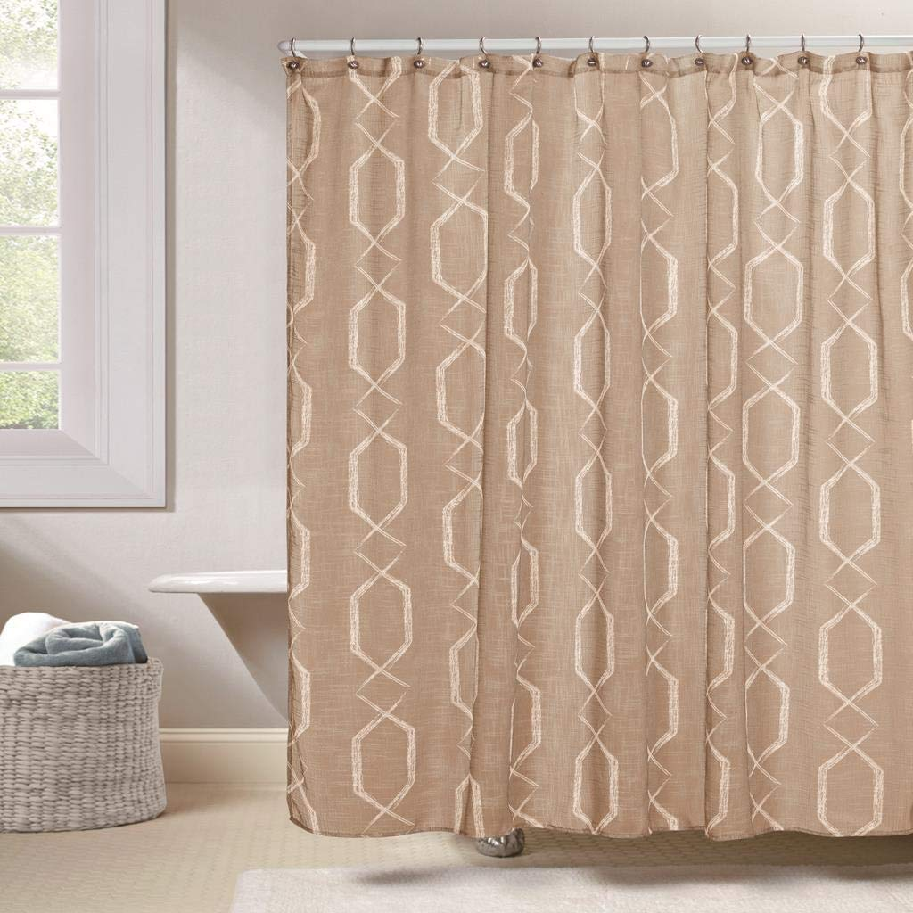 Duck River Textiles - Arcadia Faux Silk Geometric Mildew Resistant Fabric Shower Curtain Liner For Bathroom Waterproof | Water Repellent & Antibacterial - Assorted Colors - (70 X 72 Inch - Taupe)