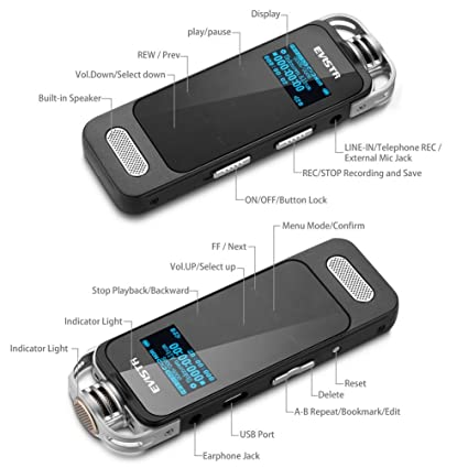 Amazon evistr l59 portable voice recorder touch button easy amazon evistr l59 portable voice recorder touch button easy operation 1536k pcm recording device voice activated recorder with noise reduction fandeluxe Gallery