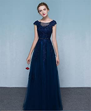 LUCKY-U Vestido largo mujer Vestido de fiesta Elegante Azul Cena de noche Banquete Decoración