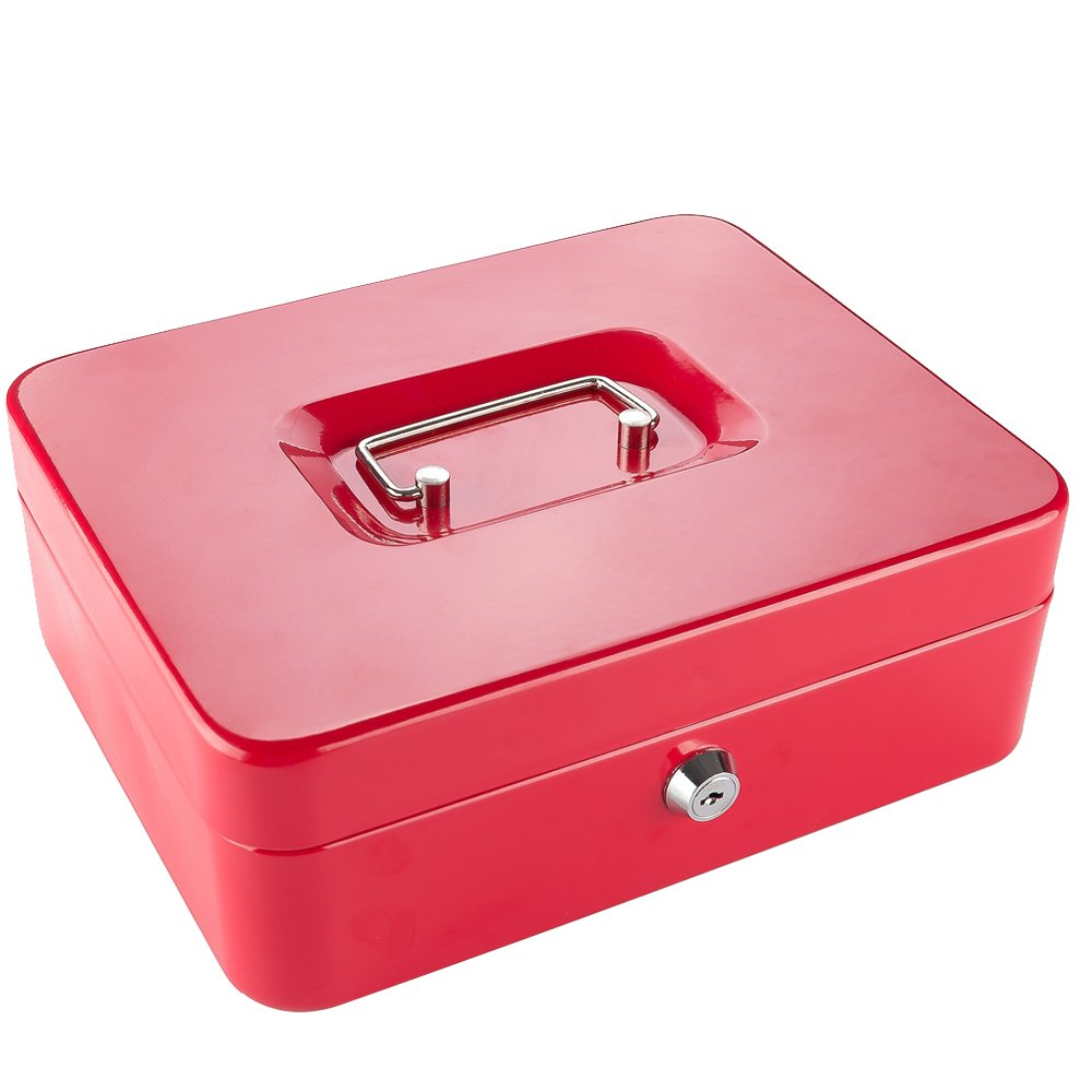 Locking Cash Box with Money Tray,Portable Metal Money Box with Double Layer & 2 Keys for Security,Lock Box,11.81''x 9.45''x 3.54'',Red …