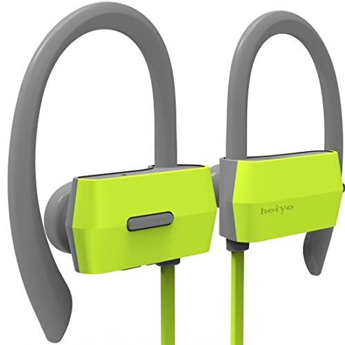 Heiyo Wireless Sport Bluetooth Headphones, In-Ear Fit Earhook Secure IPX4 Sweatproof Earphones with Mic and 7-Hour Playing Time for Running,Gym and Outdoor Sports (Green)