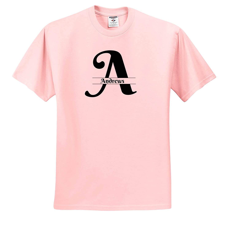 Bold Script Monogram A Andrews T-Shirts 3dRose BrooklynMeme Monograms