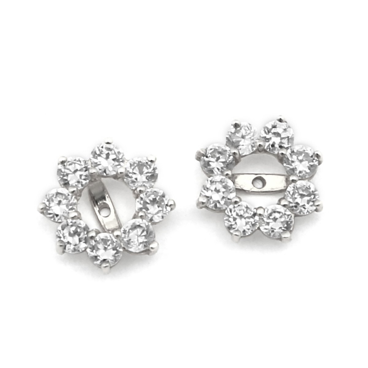 14k White Gold 10mm Cubic Zirconia Halo Earring Jackets