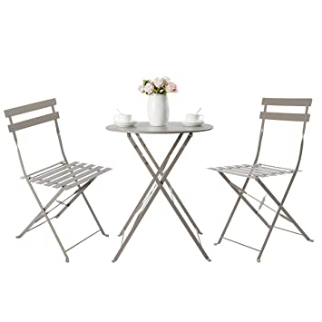 HollyHOME Juego de Muebles de balcón Plegables de Acero al Aire Libre, 3 Piezas de Mesa y sillas Plegables, Caqui Marrón Claro