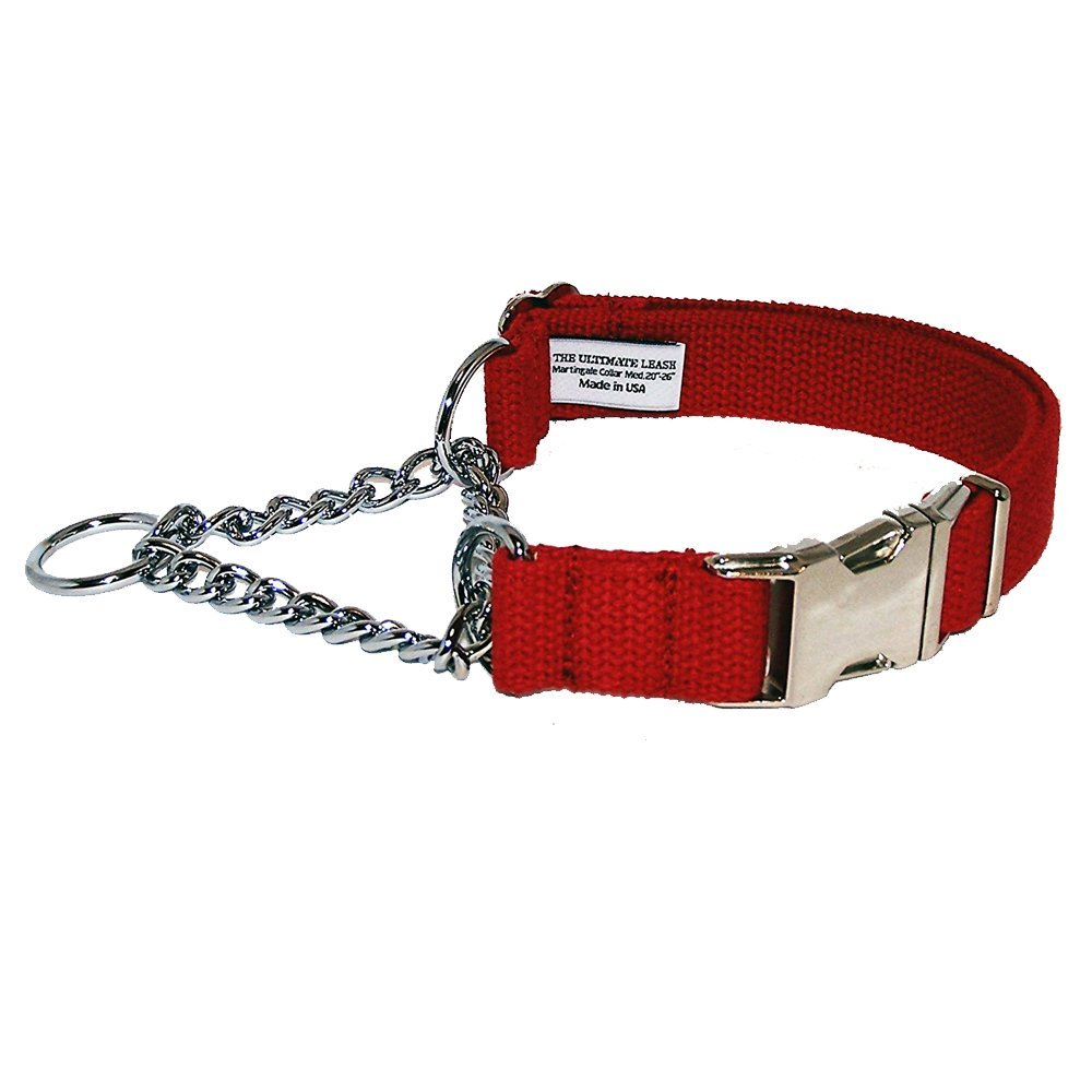 Red 16-20\ Red 16-20\ Red Cotton Martingale Dog Collar   Made in The USA   Adjustable, Small, Medium, Large, Top Quality, Premium, Heavy Duty, Durable, Strong, Nickel Plated Steel, Wide, Training The Ultimate Leash