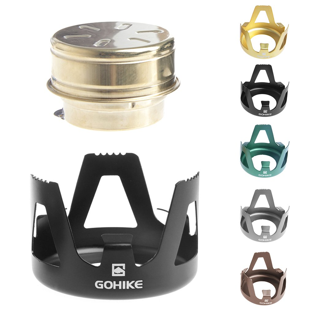 HittecH Outdoor Picnic Stove Combustor Alcohol Stove Camping Furnace Portable Folding(Black)