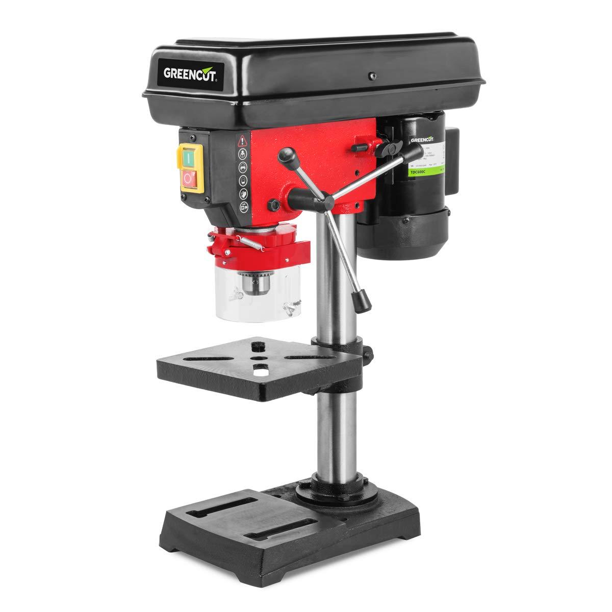 Greencut 8435574309204 Perceuse colonne 600 W Puissance 5 vitesses 50 mm perforation rouge