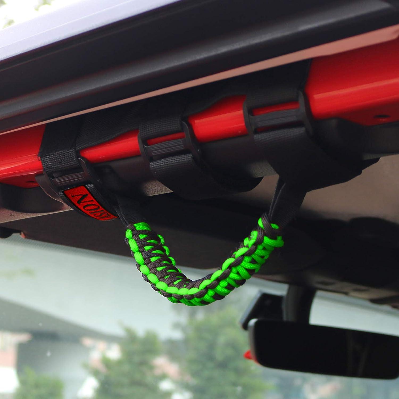 1986-2020 4 X Roll Bar 3 Straps Paracord Grab Grip Handles Fit for 2 to 3-inch Roll Bars for Most Jeep Wrangler Models TJ CJ YJ JK JKU JL JLU Sport, Willys, Sahara, Rubicon Orange