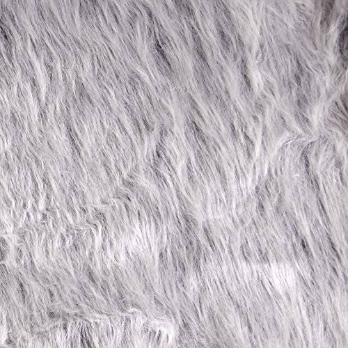 Shannon Fabrics Shannon Faux Fur Monkey Shag Gray Frost Fabric by The Yard