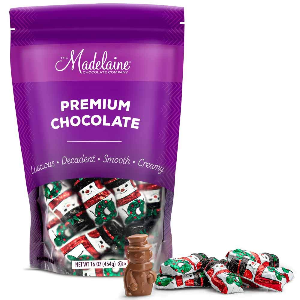 Madelaine Premium Solid Milk Chocolate Snowmen (1 LB) Christmas Party Favors - Candy Stocking Stuffers Holiday Treats - Individually Wrapped In Italian Foils - (One Pound)