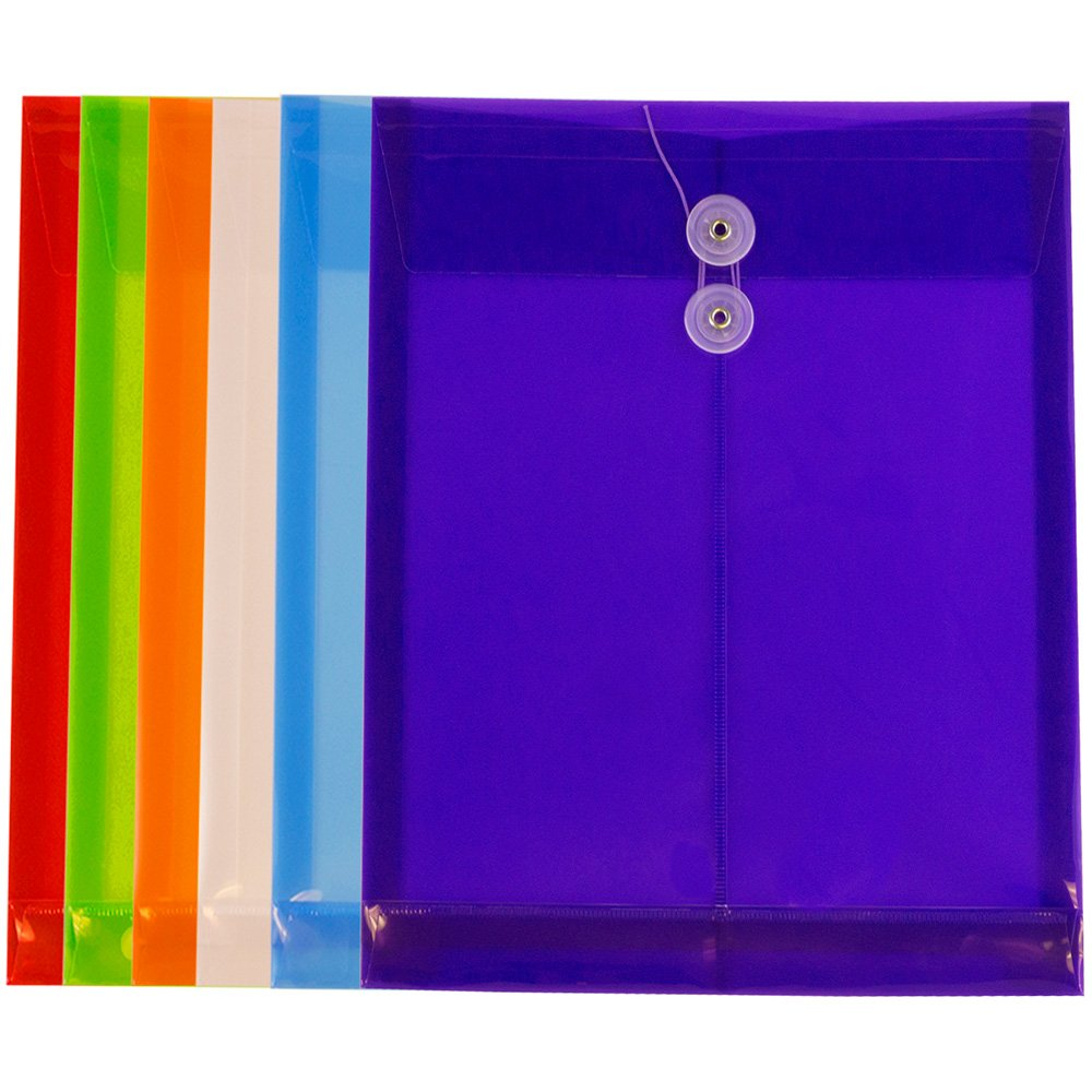 JAM PAPER Plastic Envelopes with Button & String Tie Closure - Letter Open End - 9 3/4 x 11 3/4 - Assorted Colors - 6/Pack by JAM Paper (Image #2)