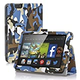 TNP New Fire 7 Case (Camouflage Blue & Black) - Slim Fit Synthetic Leather Folding Folio Case Cover Stand for Amazon New Fire 7 Inch (5th Generation) 2015 Release Tablet with Stylus Holder