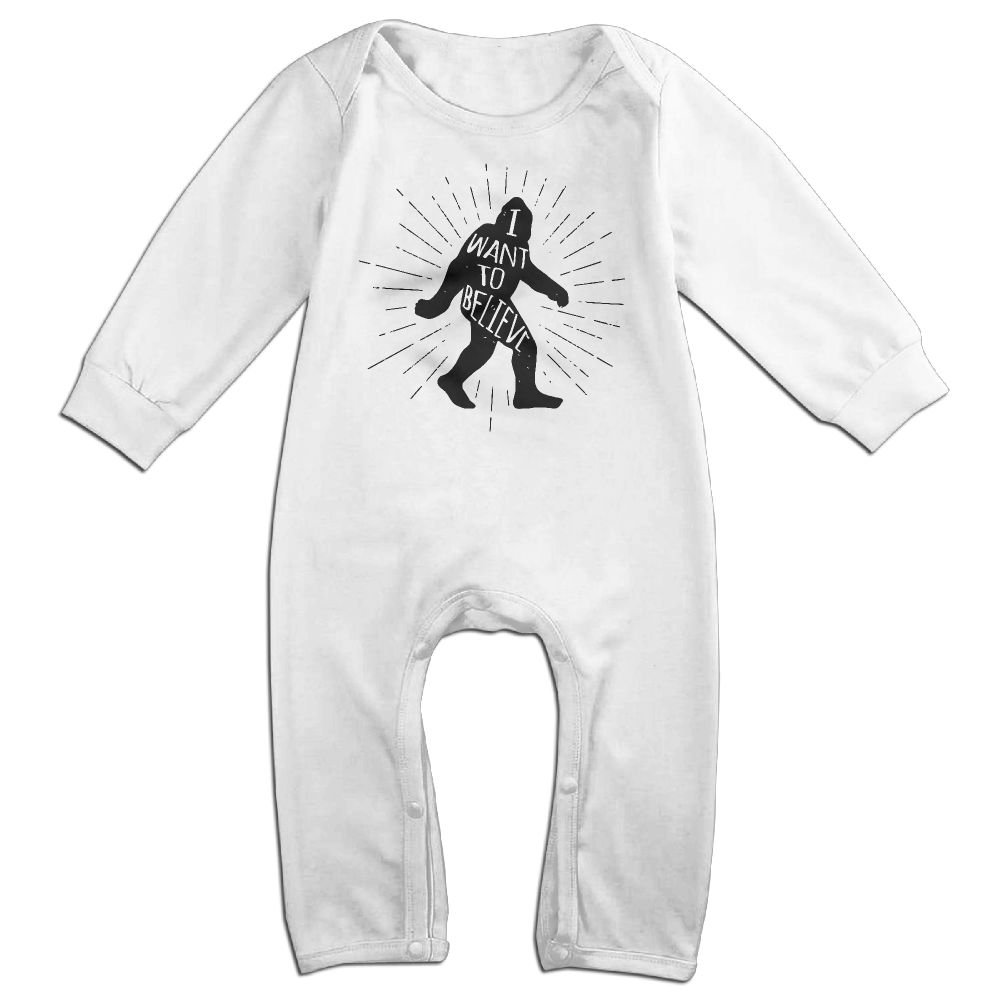 Mri-le1 Baby Boy Coverall I Want Believe in Bigfoot Infant Long Sleeve Romper Jumpsuit