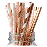IPALMAY 150 Pieces Rose Gold and Pink Biodegradable Drinking Paper Straws, Striped Polka Dot Chevron, 7.75 Inches