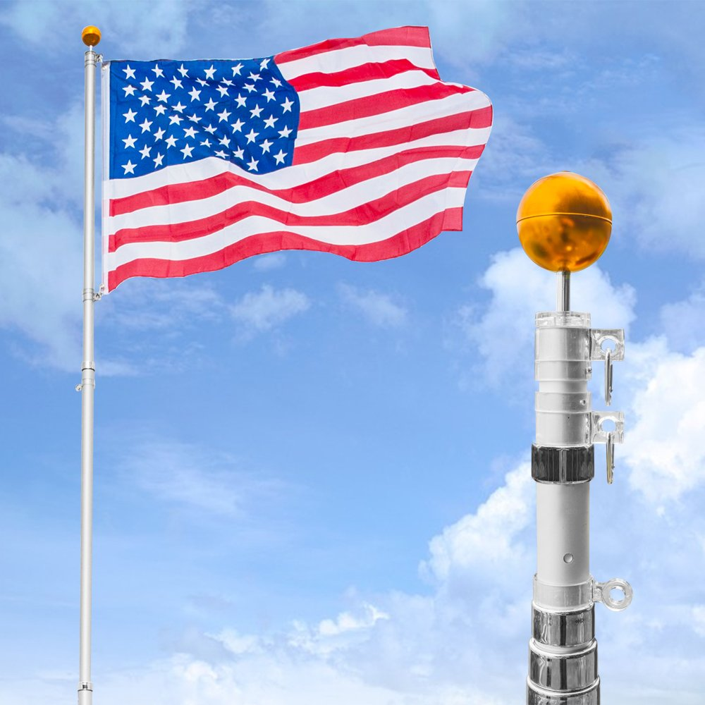 VINGLI Telescopic 20FT Flagpole Upgraded Heavy Duty, with 3'x5' US Flag Golden Ball Top Kit Halyard Rope PVC Sleeve, Flag pole for Residential Commercial Outdoors Décor Fly 2 Flags
