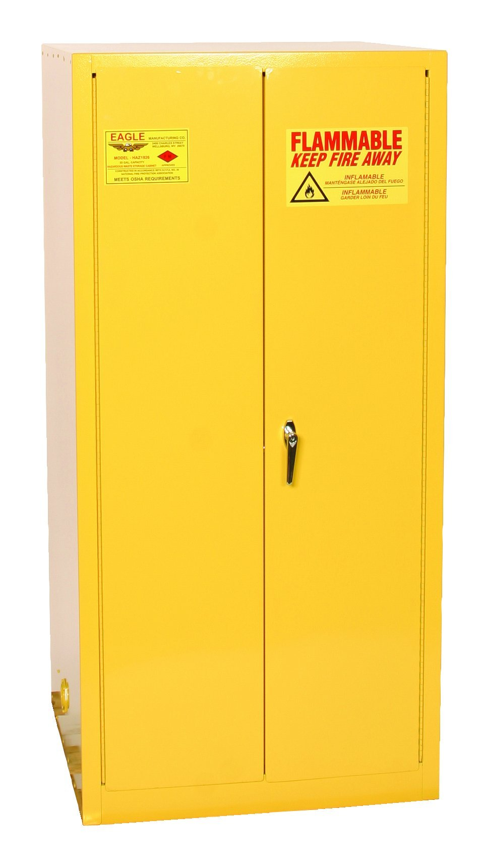 Eagle 1926 Drum Storage Safety Cabinet, 2 Door Manual Close, 55 Gallon, 65'' Height, 31-1/4'' Width, 31-1/4'' Depth, Steel, Yellow