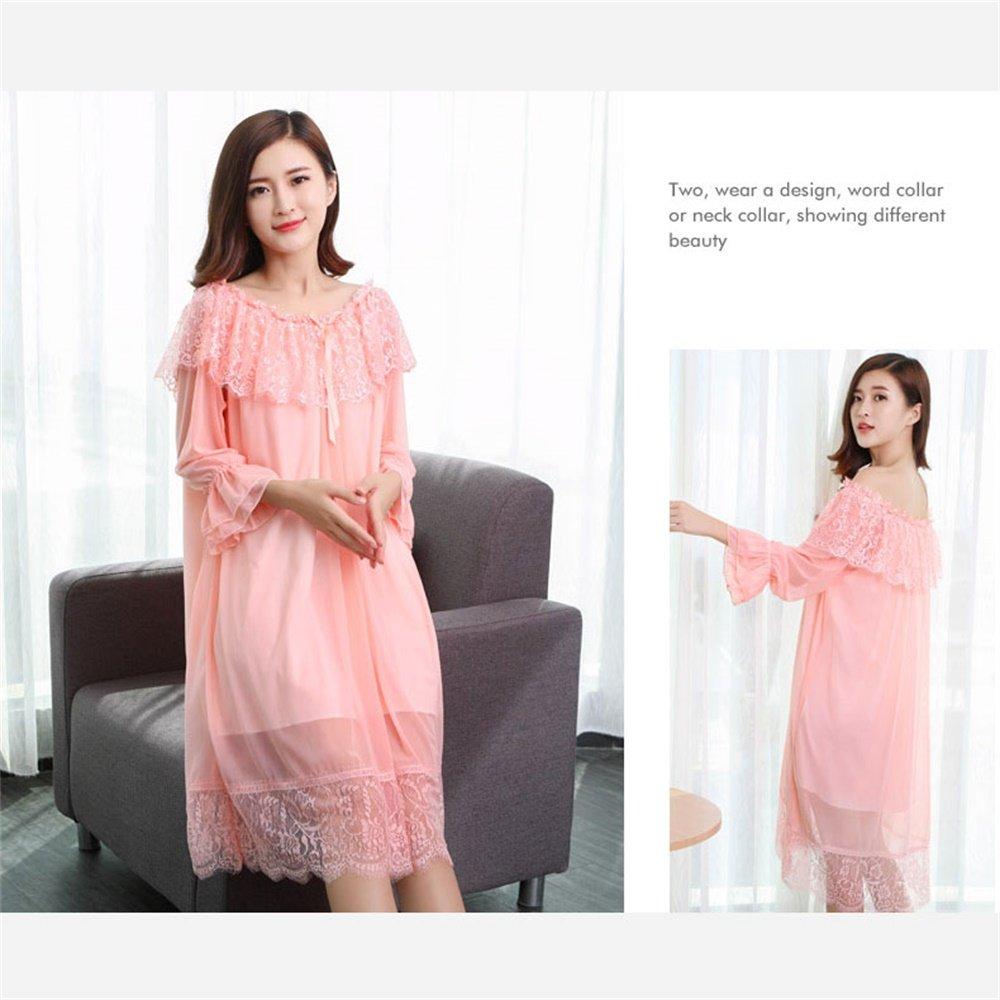 SMC Pijamas para mujer Luxury Long Palace Ladies Lingerie Mujeres Primavera Verano Pestañas de Encaje Sexy Pijamas Sweet Princess Wind White (Color : Pink, ...