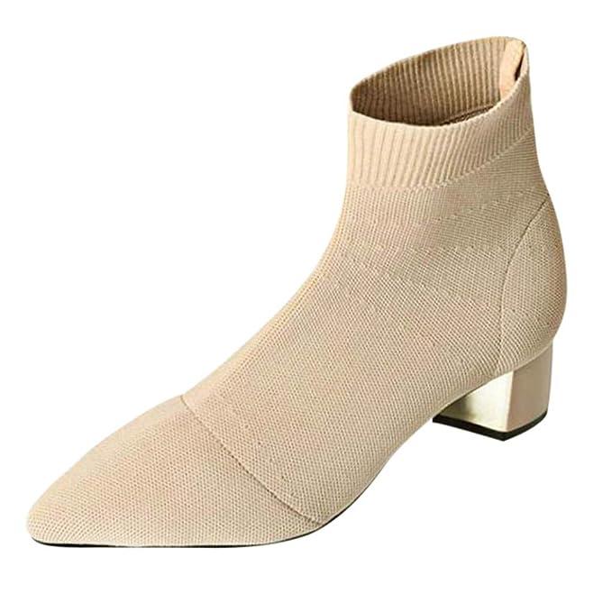 Darringls_Zapatos para Mujer,Sandalias Damas de Las Mujeres de la Moda del Dedo del pie Puntiagudo tacón Cuadrado Botas de Tejer Zapatos Ocasionales: ...